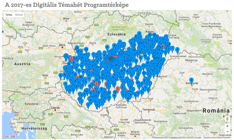 A Digitális Témahét programtérképe 2017-ben